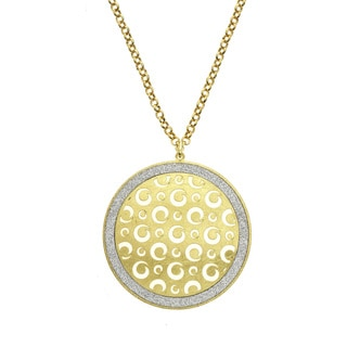 Isla Simone - Gold Tone Dial Swirl Cutout Circle Pendant Necklace