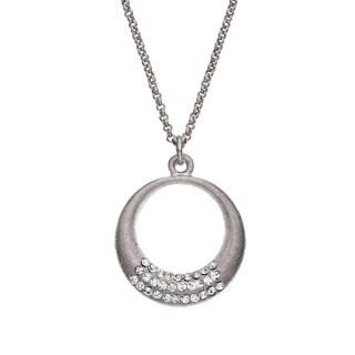 Isla Simone - Silver Tone 3 Roll Crystal Crescent Pendant Necklace