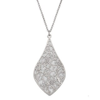 Isla Simone - Silver Tone Crystalized Bi-Lever Paisley Necklace