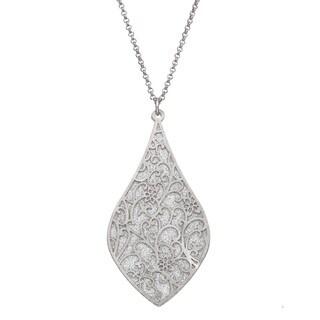 Isla Simone - Silver Tone Crystalized Bi-Lever Paisley Necklace