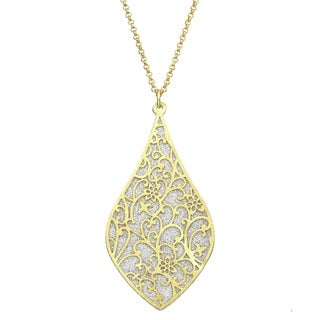 Isla Simone - Gold Tone Crystalized Bi-Lever Paisley Necklace