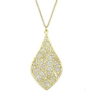 Isla Simone - Gold Tone Crystalized Bi-Lever Paisley Necklace