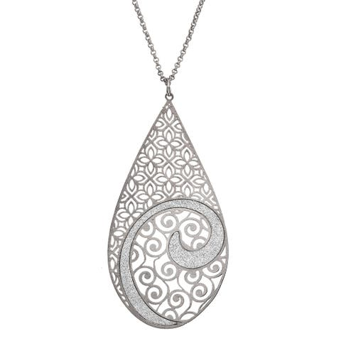 Isla Simone - Silver Tone Concave Swirl Large Tear Drop Necklace