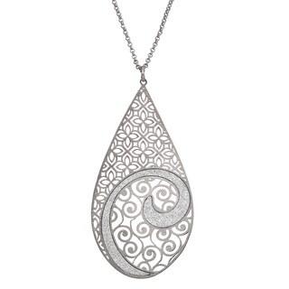 Isla Simone - Silver Tone Concave Swirl Large Tear Drop Necklace