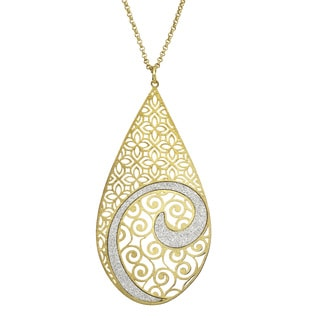 Isla Simone - Gold Tone Concave Swirl Large Tear Drop Necklace