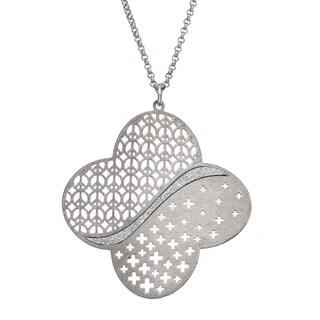 Isla Simone - Silver Tone Clover Pendant Necklace