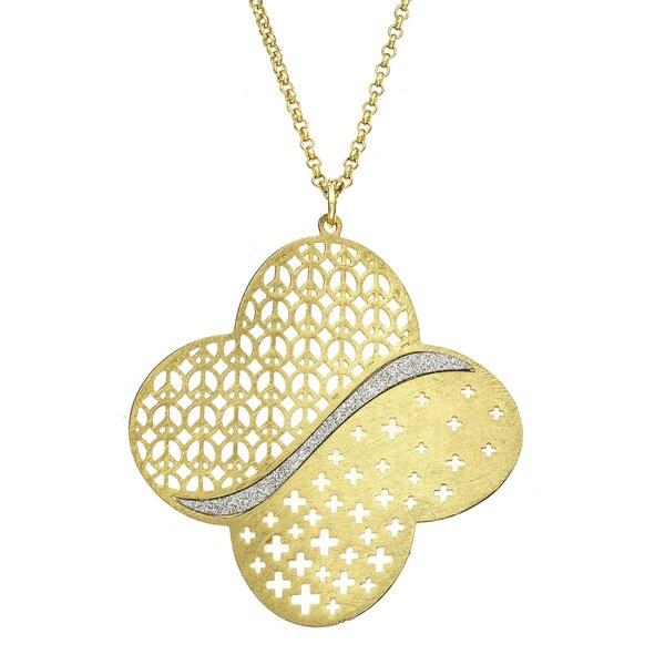 Isla Simone - Gold Tone Clover Pendant Necklace