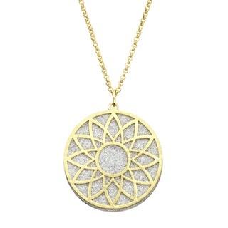 Isla Simone - Gold Tone Crystalized Bi-Level Sundial Necklace