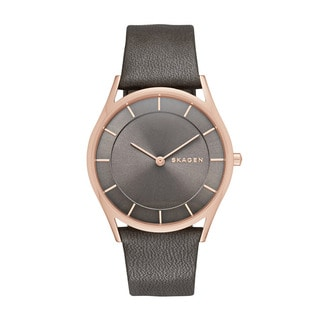 Skagen Women's Grey Leather Holst Grey Dial Watch