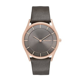 Skagen Women's Grey Leather Holst Grey Dial Watch|https://ak1.ostkcdn.com/images/products/11545930/P18491105.jpg?impolicy=medium