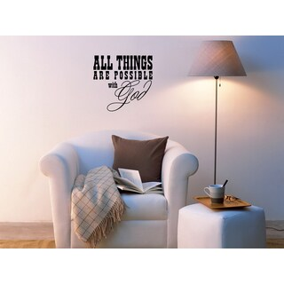 Phrase With God All Things Possible Wall Art Sticker Decal