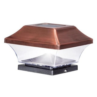 Solar Powered LED Antique Copper Post Cap Light (4-Pack)