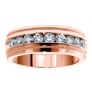 14k Rose Gold 1ct TDW Brilliant-cut Diamond Men's Ring