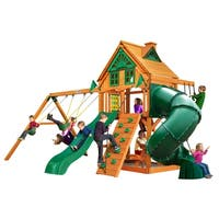 Gorilla Playsets Mountaineer Treehouse Cedar Swing Set with Fort Add-On and Natural Cedar Posts - Brown