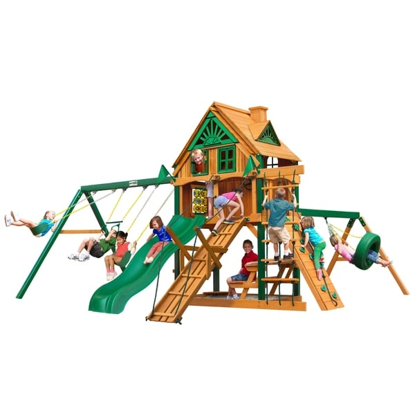 shop gorilla playsets frontier treehouse cedar swing set with fort add on and timber shield. Black Bedroom Furniture Sets. Home Design Ideas