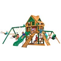 Gorilla Playsets Frontier Treehouse Cedar Swing Set with Fort Add-On and Timber Shield Posts