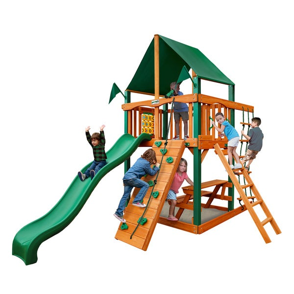 Gorilla Playsets Chateau Tower Swing Set with Timber Shield and Sunbrella Canvas Forest Green Canopy