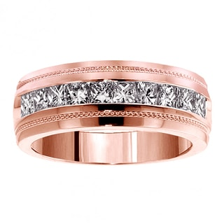14k Rose Gold Men's 1ct TDW Princess-cut Diamond Ring