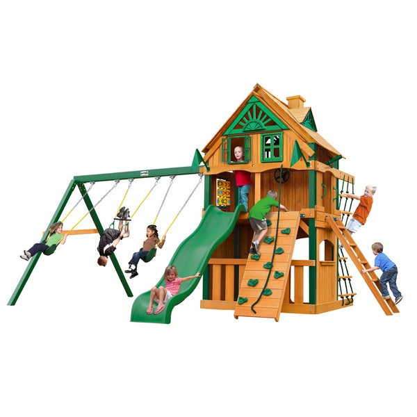 Gorilla Playsets Chateau Clubhouse Treehouse Cedar Swing Set with Fort Add-On and Timber Shield Posts - Brown