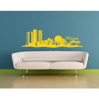Miami City Skyline Cityscape Wall Decal Vinyl Art Home Decor