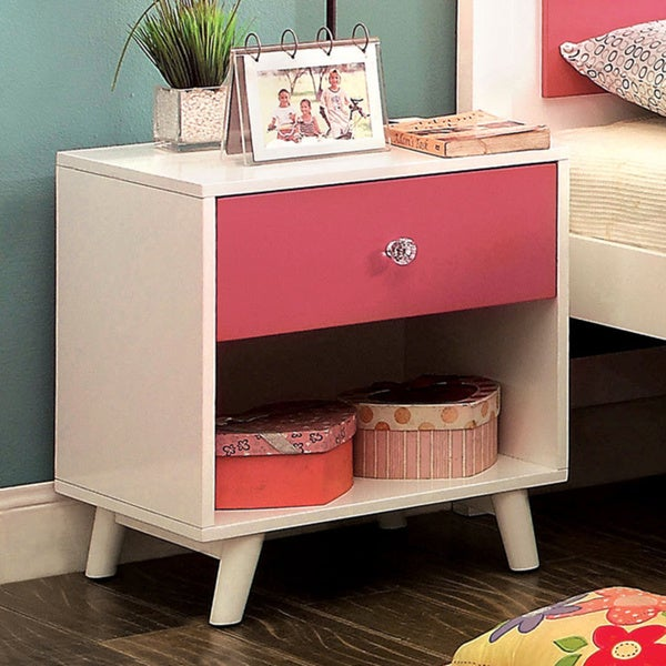 shop furniture of america kacie modern pink white youth nightstand