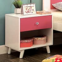 Furniture of America Kacie Modern Pink and White Youth Nightstand
