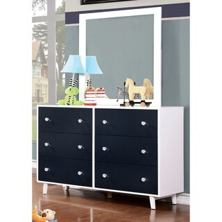 Furniture of America Kacie Modern 2-piece Blue/White Youth Dresser and Mirror Set