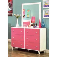 Furniture of America Kacie Modern 2-piece Pink/White Youth Dresser and Mirror Set