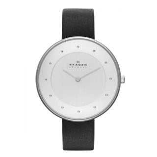 Skagen Women's Black Leather Ultra Slim White Dial Watch