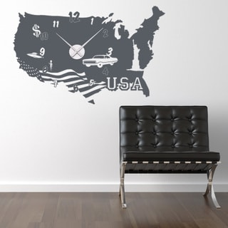 Usa Wall Clock Vinyl Decor Wall Art