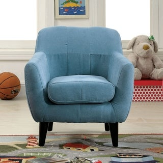 Furniture of America Lara Contemporary Flannelette Scoop Youth Frame Arm Chair