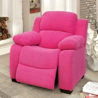 Furniture of America Tory Plush Kids Recliner with Storage Armrests