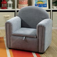 Furniture of America Collie Modern Flannelette Kids Storage Club Chair