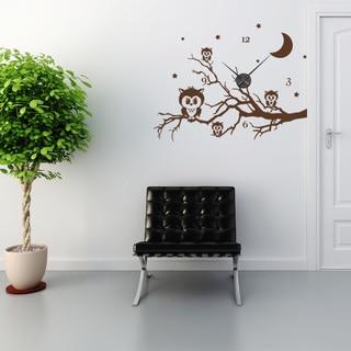Owl Branch Wall Clock Vinyl Decor Wall Art