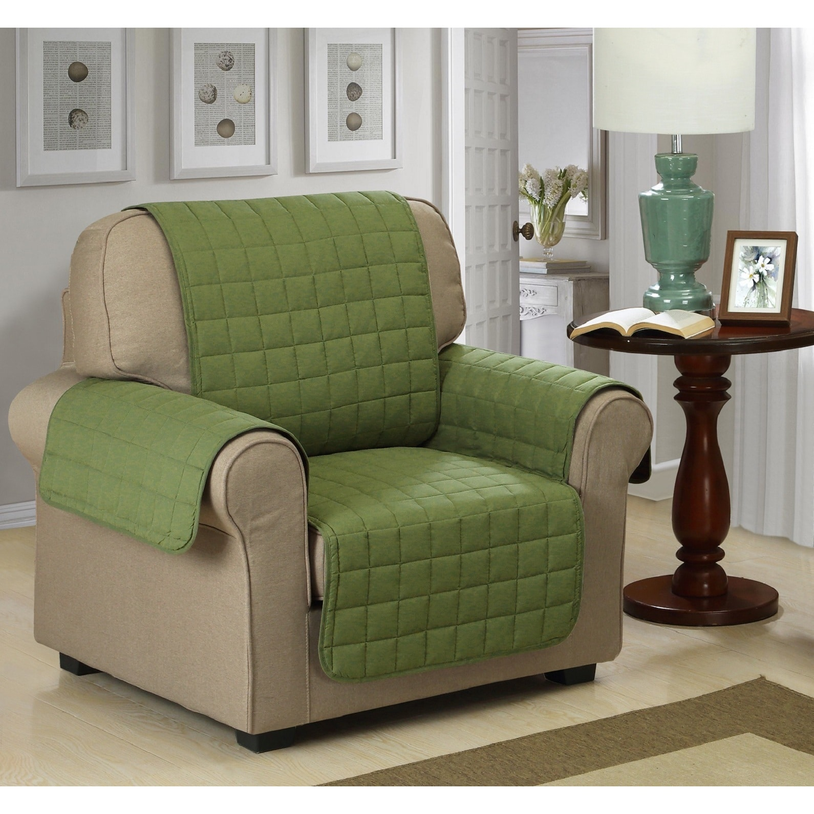 Chic Home Jonathan Box Quilted Quick Draped Green Chair Cover