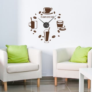 Coffee Time Wall Clock Vinyl Decor Wall Art