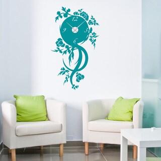 Floral Time Wall Clock Vinyl Decor Wall Art