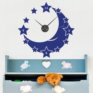 Moon and Stars Wall Clock Vinyl Decor Wall Art