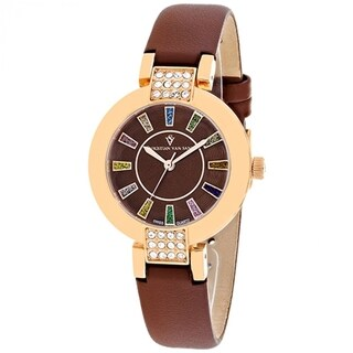 Christian Van Sant Women's CV0444 Celine Round Brown Leather Strap Watch