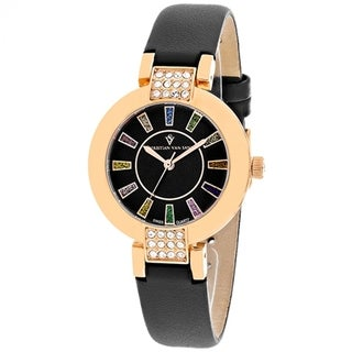 Christian Van Sant Women's CV0443 Celine Round Black Leather Strap Watch