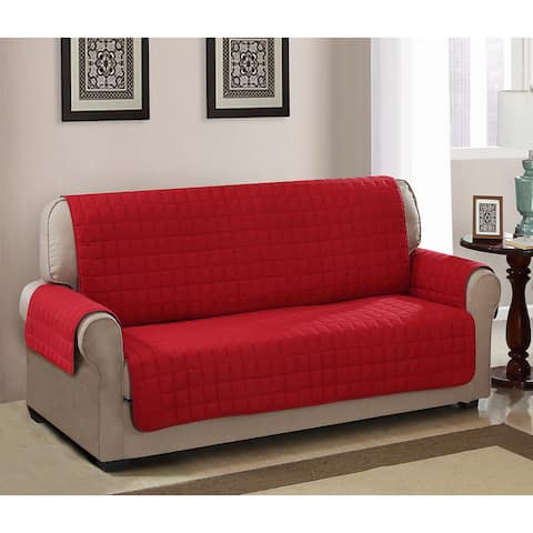 Chic Home Jonathan Box Quilted Quick Draped Red Sofa Cover