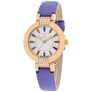Christian Van Sant Women's CV0445 Celine Round Purple Leather Strap Watch