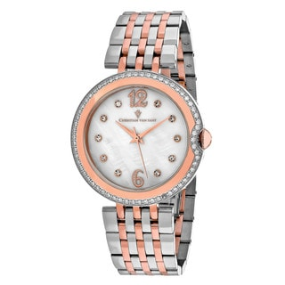 Christian Van Sant Women's CV1613 Jasmine Round Two-tone Stainless Steel Bracelet Watch