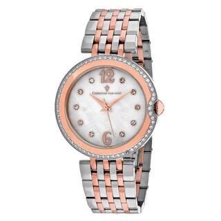 Christian Van Sant Women's CV1613 Jasmine Round Two-tone Stainless Steel Bracelet Watch