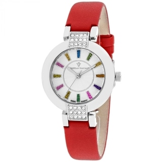 Christian Van Sant Women's CV0440 Celine Round Red Leather Strap Watch