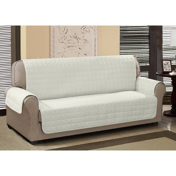 Strange Chic Home Jonathan Box Quilted Quick Draped Ivory Sofa Cover Dailytribune Chair Design For Home Dailytribuneorg