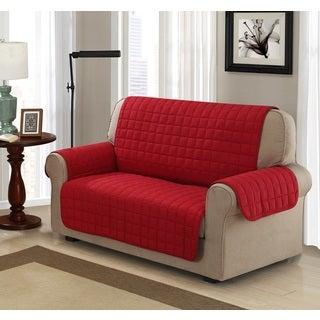 Chic Home Jonathan Box Quilted Quick Draped Red Loveseat Cover
