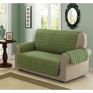 Chic Home Jonathan Box Quilted Quick Draped Green Loveseat Cover