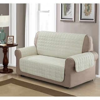 Chic Home Jonathan Box Quilted Quick Draped Ivory Loveseat Cover