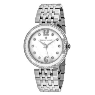 Christian Van Sant Women's CV1610 Jasmine Round Silver-tone Stainless Steel Bracelet Watch